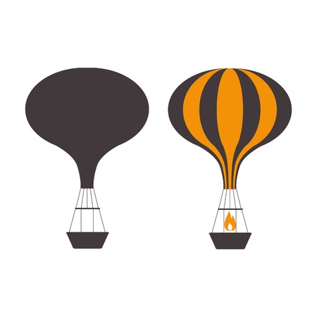 Hot air balloons icons in monochrome. Vintage gas balloon logo template. Air craft adventure, exploring retro airships and aerostats silhouettes. Touristic ballooning journey logotypes. Ilustração