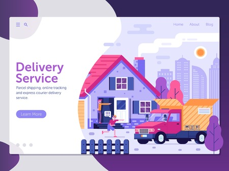 Delivery service landing page template with people receiving parcel in front of house. Shipping package concept banner with courier delivery van and opened cardboard box. Shipment illustration. Stock Illustratie