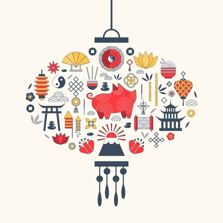 Chinese New Year elements in asian lantern shape for greeting postcard design and print. China Spring Festival 2019 card with pig, lotus flowers, lamps, fireworks and traditional china ornament.