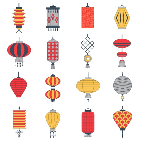 Chinese paper lantern collection icon set. New Year and Spring festival decoration elements and holiday celebration symbols. East culture traditional japanese lanterns and lamps.