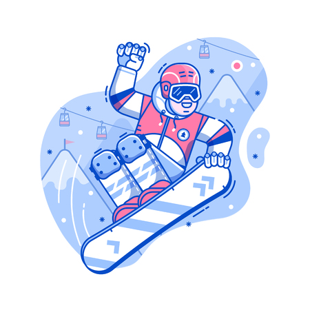 Smiling cross country snowboarder jumping on ski resort background. Freeride snowboard man character in motion concept scene. Mountain freestyle skier jump on snow hill.