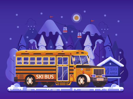 Ski resort yellow shuttle bus, snowy mountain peaks and funiculars in gradient flat design. Skiing center hotel transport concept. Hop on skibus service gets to slopes for winter holidays vacation.