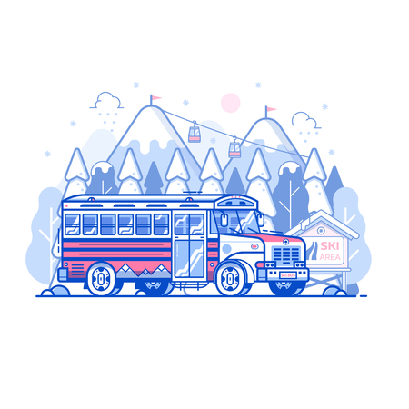 Ski resort shuttle bus and snowy mountain peaks with funicular in line art. Winter sport center hotel transport concept in flat design. Hop on skibus service gets to slopes for skiing vacation.