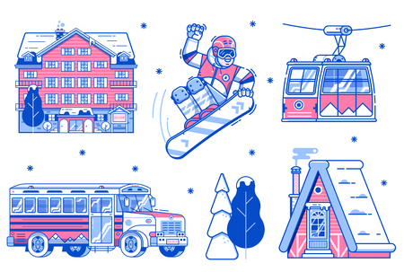 Mountain ski resort elements. Snowboarder, funicular cable car, chalet, skibus shuttle, park hotel and snowy trees. Winter sport activities, skiing vacation icons with lodging and transportation.