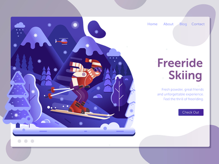 Ski resort landing page template with freeride skiing man on skis in motion. Winter holidays in mountains web banner with downhill skier riding on snowy forest. Night skiing concept in flat design.