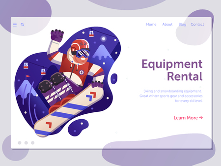 Ski resort winter holidays landing page template with snowboarder jumping on mountains background. Skiing and snowboarding equipment rental web banner with freeride snowboard man in motion.