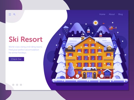 Skiing resort landing page template with ski hotel, funiculars and Alps mountain landscape in flat design. Winter holidays in mountains web banner with snow slopes, vacation villa and funiculars.