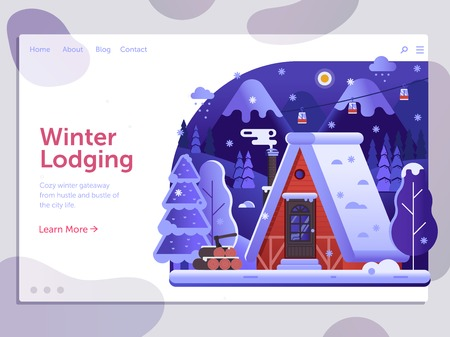 Ski resort landing page template with winter house and smoking chimney on forest. Winter lodging holidays in mountains web banner with snow ski lodge chalet or log cabin on wilderness by wintertime. Banque d'images - 115015579