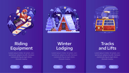 Winter ski resort onboarding mobile app page screens with snow chalet, snowboard free riding and funicular service in flat gradient design. Winter holidays in mountains vertical banners . Иллюстрация