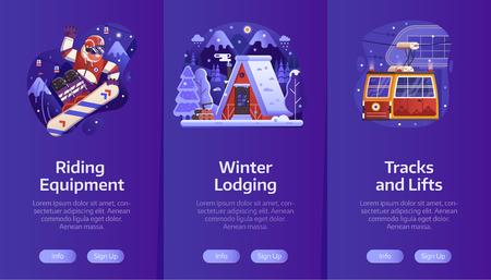 Station de ski d'hiver intégrant des écrans de page d'application mobile avec chalet de neige, snowboard gratuit et service de funiculaire dans un design à gradient plat. Vacances d'hiver dans les bannières verticales des montagnes.