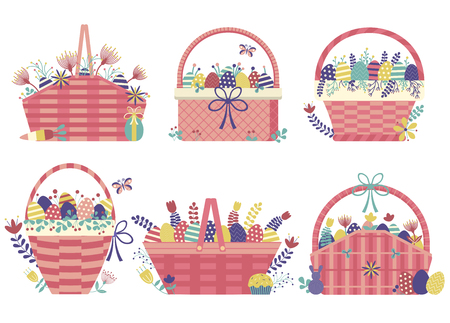 Wicker Easter basket icons. Spring festive straw baskets filled with colored ornamented eggs, flowers, leafs, twigs, berries and other egg hunt symbols.