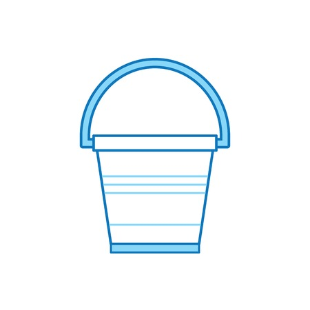 Garden bucket line icon. Water pail metal container for gardening or housework.