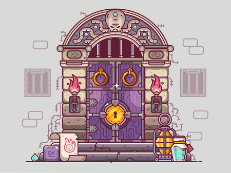 Rpg dungeon door with burning torches and golden door knob. Fantasy gaming concept with medieval closed doorway, bars on windows and stone steps with oil lamp, magical scroll, runes, gems and potion. Stock Photo