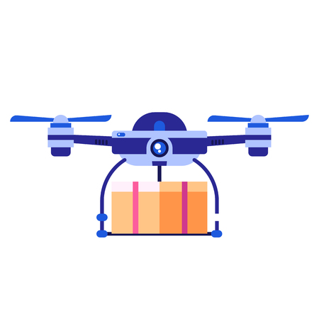 Blue drone carrying package icon. Quad copter shipping parcel box. 写真素材