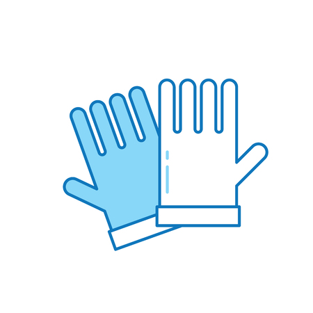 Line garden gloves icon. Hand protection wear symbol.