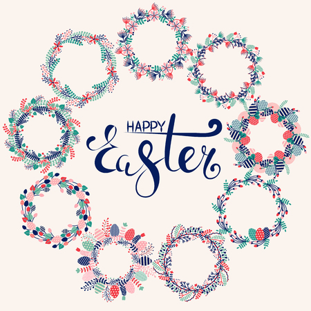 Happy Easter greeting card with spring holiday wreath decorated with colored eggs, festive flowers and natural botanical elements. Festive congratulation postcard with text.