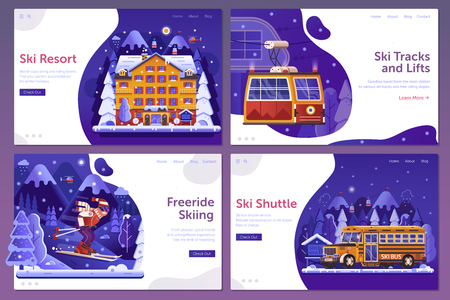 Winter ski resort web landing page templates in gradient flat design. Winter holidays in mountains UI banners with shuttle service, snowy hotel, ski lift gondola and downhill ski man on skiing slope.