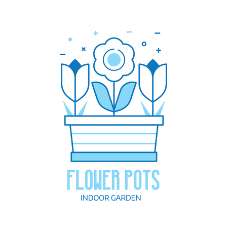 Spring flower pot with tulips and blossom. Flowerpot logo or emblem template in line art.