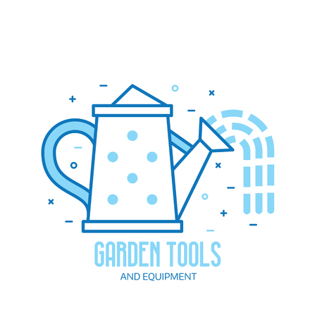 Spring watering can icon. Garden tools shop logotype in line art.