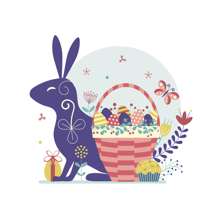 Easter card with bunny and wicker basket filled with colored eggs, flowers and plants. Traditional spring egg hunt concept scene for postcard or invitation template.