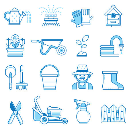 Spring gardening icon set with farm tools and equipment. Growing plants elements collection with gardener, grass-cutter, wheelbarrow and other garden icons. Springtime gardening objects in line art.