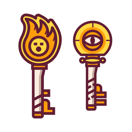 Magic key fantasy RPG item icon. Gaming asset clue icon. Golden magical chest key.