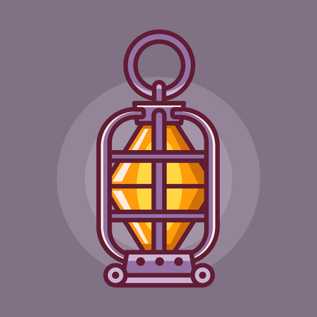 Vintage handle camping lantern icon in line art. Fantasy RPG dungeon lamp with glowing fire wick. Retro kerosine or oil lantern for hiking. Ilustrace