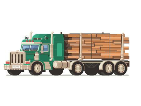 Logging truck or timber lorry carrying wooden logs and lumber on dolly trailer. Wood harvesting industry transport.