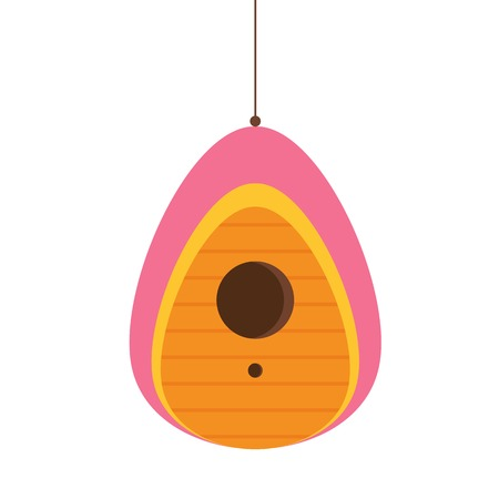Wooden spring bird house icon in flat design. Colorful garden birdhouse illustration. Cartoon nesting box.