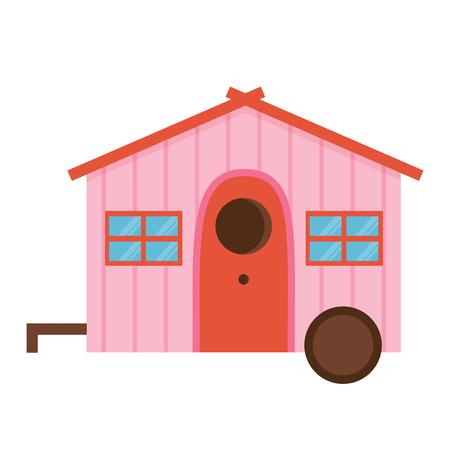 Wooden spring bird house icon in flat design. Colorful garden birdhouse illustration. Cartoon nesting box.