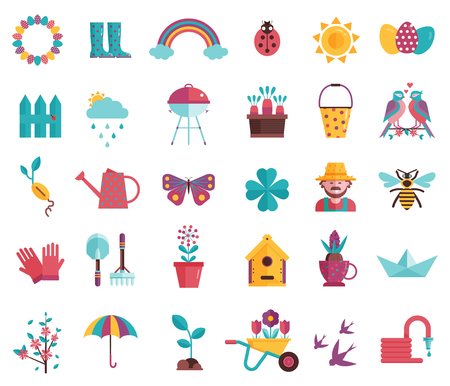 Spring icons set with gardening tools, plants, flowers, birds, insects and easter decorations. Springtime elements collection with gardening equipment, planting, growing and landscaping symbols. 矢量图像