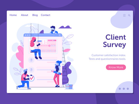 Customer satisfaction index landing page template. Client feedback survey web banner. Test application form or questionnaire for marketing research. User experience exploration UI illustration.