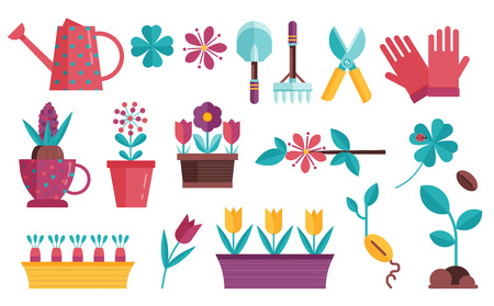 Spring seedling and planting icons set. Home growing flowers, vegetables and greenery elements. Gardeners caring equipment for garden seasonal plants cultivation.