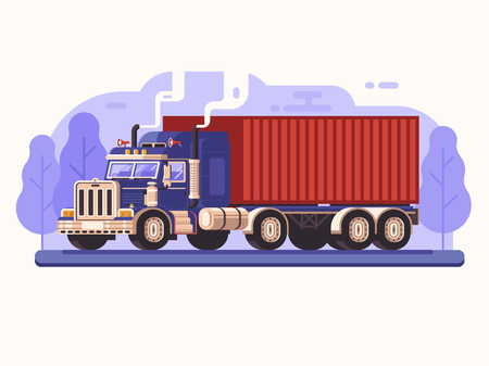 Cargo load truck on road concept. Container trucks worldwide logistic transportation. Freight lorry delivery scene in flat design. Commercial shipping illustration with heavy trailer vehicle.