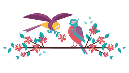 Cartoon spring birds couple in love on blooming tree brunch. Boy bird giving flower to girlfriend sitting on blossom cherry flowers twig. Romantic greeting banner for Valentine day. 写真素材