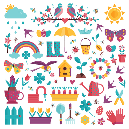 Spring icons set with gardening tools, plants, flowers, birds, insects and easter decorations. Springtime elements collection with gardening equipment, planting, growing and landscaping symbols. Banco de Imagens