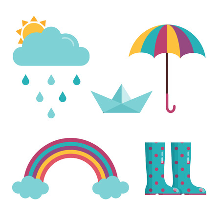 Spring rain icon set with sun behind cloud, drops, colored umbrella, rubber dotted gumboots, paper boat and rainbow in cartoon flat design. Rainy day icons.
