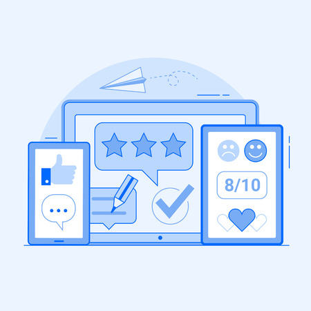 Client positive feedback on social media and internet. Customer satisfaction concept with good reviews and like icons. Excellent client service user experience advertising illustration.