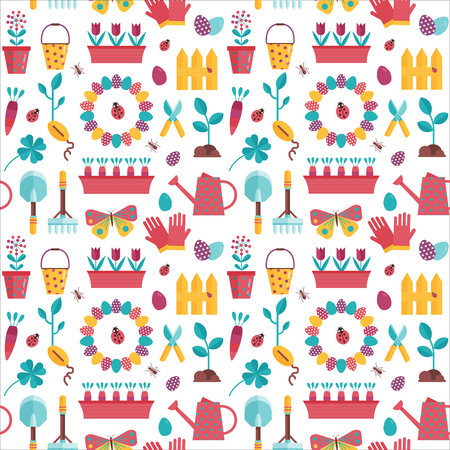 Spring seedling and planting pattern with plant growing icons. Home gardening seamless background with lanscaping elements and equipment. Springtime backdrop for wrapping paper or print.