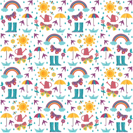 Spring pattern with rainbow, sun, umbrella, paper boat and rain icons. Springtime seamless background for wrapping paper or print.