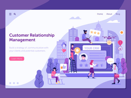 Customer relationship management platform landing page template with happy clients leaving positive feedback. CRM service web banner with people gathering positive user experience on database.