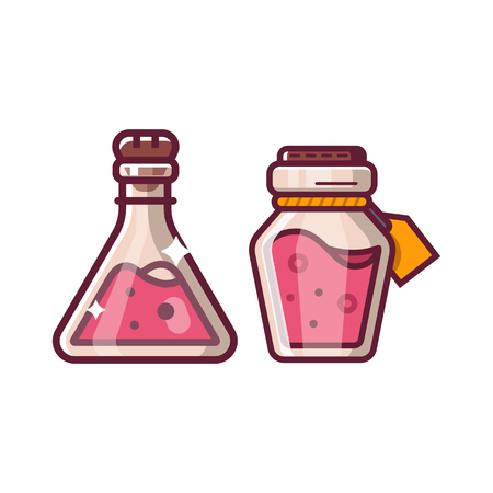 Health potion magic bottles fantasy RPG hero item icon. Alchemy magic beverage elixir or poison. Gaming assets design element isolated on white background.