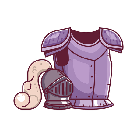 Rpg fantasy game knight breastplate and helmet. Warrior hero armor and helm equipment icons. Gaming assets design.  イラスト・ベクター素材