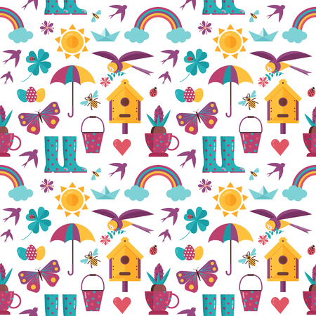 Spring pattern with rainbow, sun, umbrella, bird house and clover icons. Springtime seamless background for wrapping paper or print.