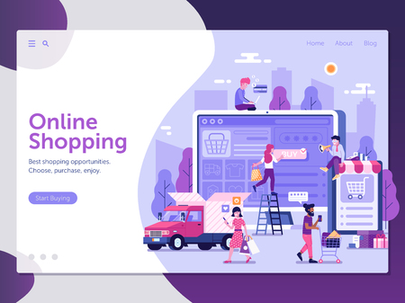 Online shopping landing page with customers buying and making order. E-commerce advertising web banner with people shopping on the internet. Digital store concept UI illustration in flat design.