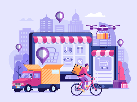 Online delivery service UI illustration with dron, courier on bike and delivery van with box. Internet shipping concept with modern city. Transportation and logistic digital shopping ad banner. Ilustração