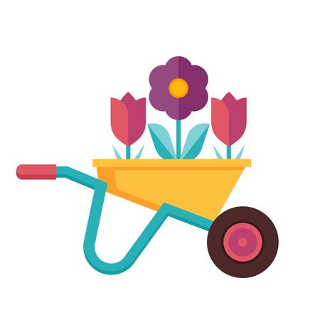 Gardening wheelbarrow icon. Spring farmer cart with flowers in flat design.