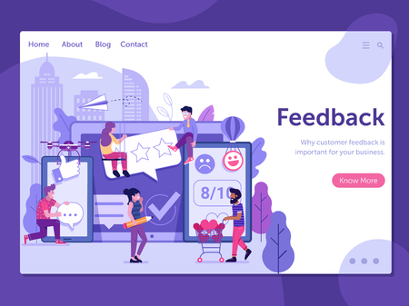 Excellent client service landing page template for internet advertising. Positive client feedback web banner. Great user experience or customer satisfaction concept with people sharing good reviews.