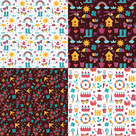Spring pattern set with blooming sakura, birds, rainbow, umbrella, bird house and gardening icons. Springtime seamless backgrounds for wrapping paper or print with seedling and landscaping elements.