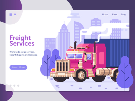 City freight services website landing page with container truck deliver to home. Worldwide logistic transportation web banner. Lorry cargo service commercial auto shipping concept with heavy trailer.